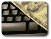 Money on keyboard