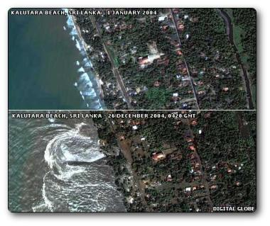 Sri Lanka shoreline, before and after the earthquake