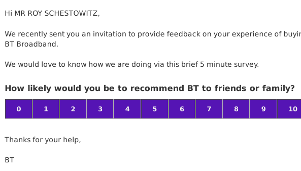 BT feedback